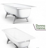 DONNA VANNA Ванна стальная 150x70x40 cм. с опорной подставкой, без ранта, белая орхидея